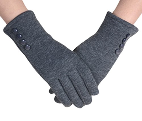 Knolee Women's Button Touch Screen Glove Lined Thick Warmer Winter GlovesGrey