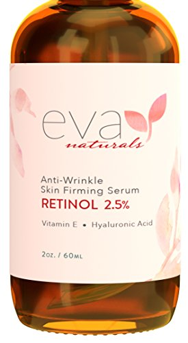 Eva Naturals Retinol 2.5%, Vitamin E with Hyaluronic Acid Anti Wrinkle Skin Firming Serum, 2 oz.