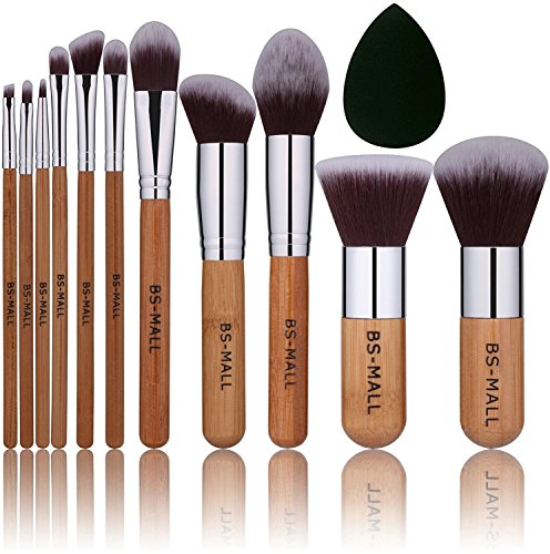 BS-MALL Bamboo Silver Premium Synthetic Kabuki Makeup Brush Set Cosmetics Foundation Blending Blush Face Powder Brush Makeup Brush Kit Plus Black Teardrop Makeup Blender Sponges (11pcsbamboo)