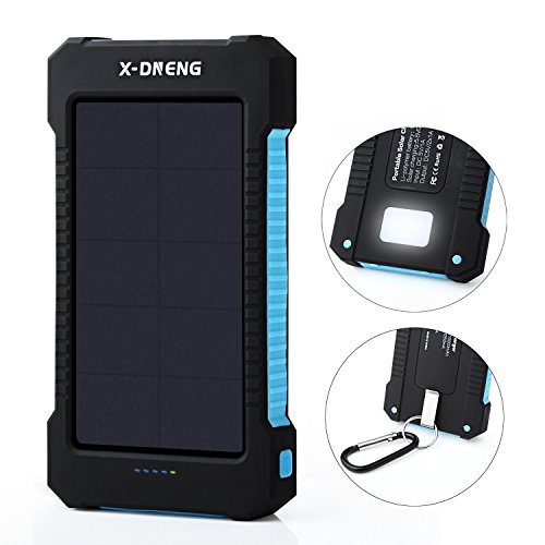 Solar ChargersX-DNENG 10000mAh Portable Solar Power Bank High Efficiency Sunpower Cellphone Chargers Rain-resistant Dirt/Shockproof Backup