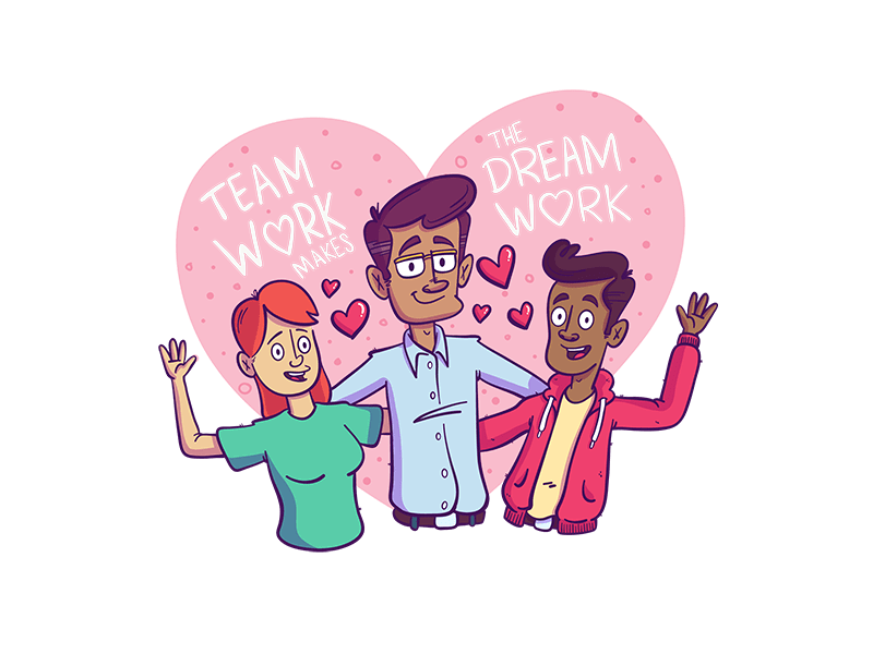 """IMAGE: Heart with three people hugging and text """"Team work makes the dream work"""""""