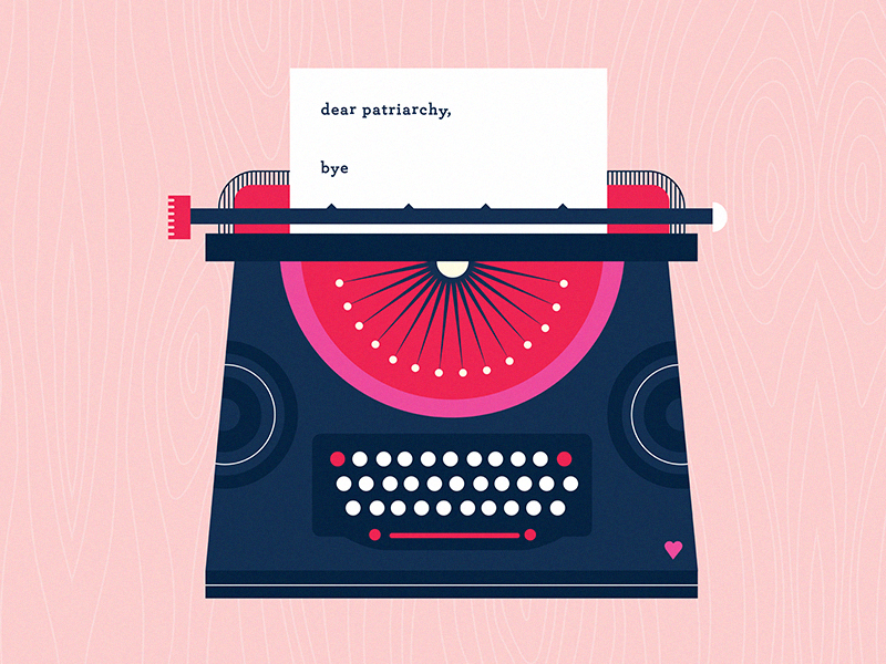 "ILLUSTRATION: Typewriter with a letter inside saying ""Dear Patriarchy, Bye"""