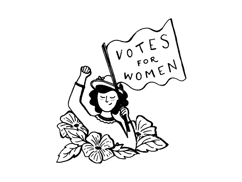 "IMAGE: Woman in a bed of flowers with one arm in the air. The other arm holds a sign that says ""Votes for women"""