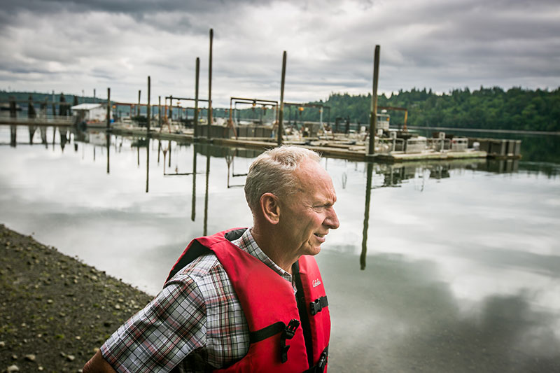 Bill Taylor, above, along with his younger brother Paul and brother-in-law, Jeff Pearson, are co-owners of the largest farmed shellfish producer in the nation.
