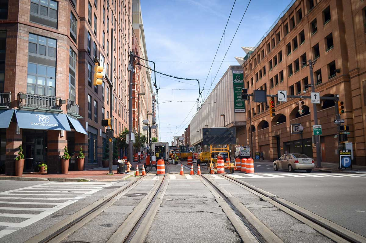 """Construction work seen in downtown Baltimore on July 31, 2017. A steam pipe exploded near Camden Yards in June. Veolia, the company which manages the city's steam pipes, said it was caused by """"abnormal pipe wall thinning."""""""
