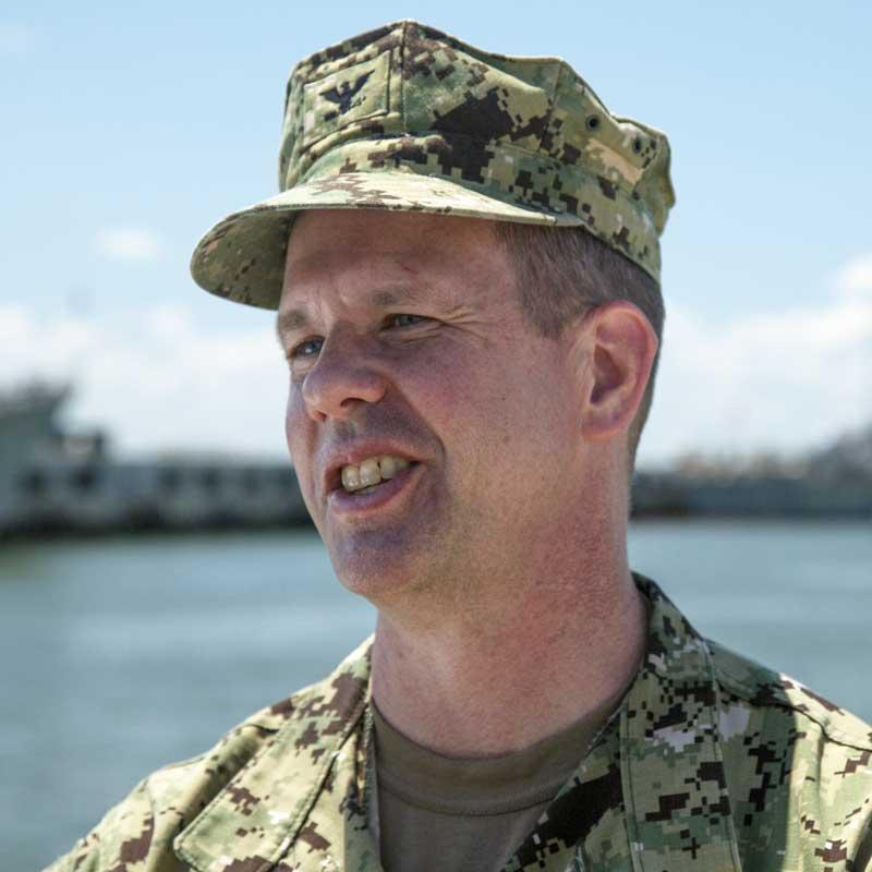 Caption: Captain Dean Vanderley on Naval Station Norfolk (Alex Chancey)