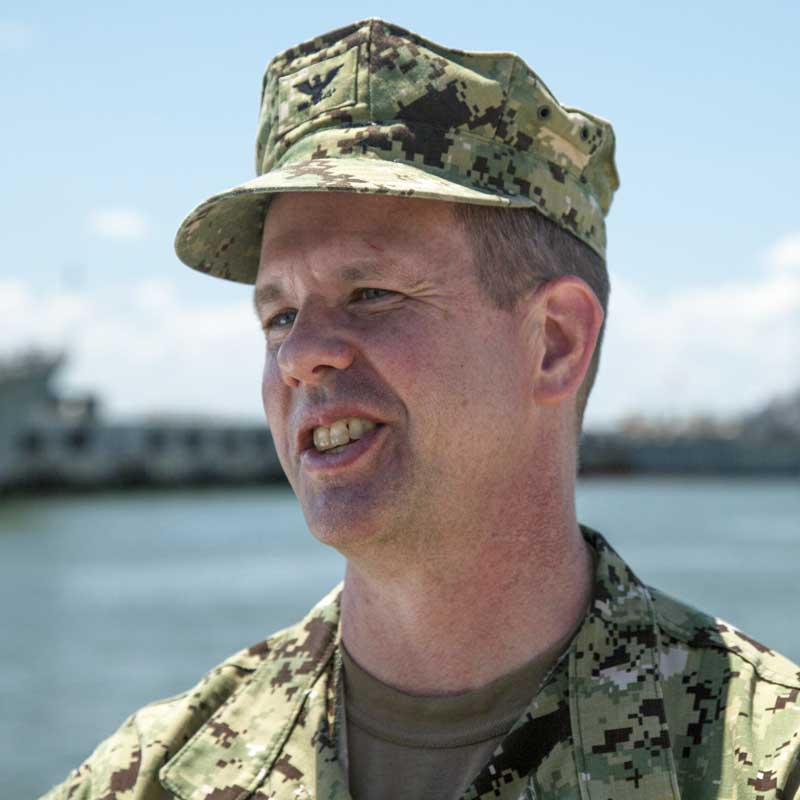 Caption: Captain Dean Vanderley on Naval Station Norfolk (Alex Chancey)