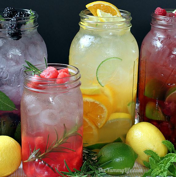 Naturally Flavored Water -- An easy formula for making an endless variety of fruit and herb infused waters. Say goodbye to soda, juice, and bottled water! www.theyummylife.com/Flavored_Water