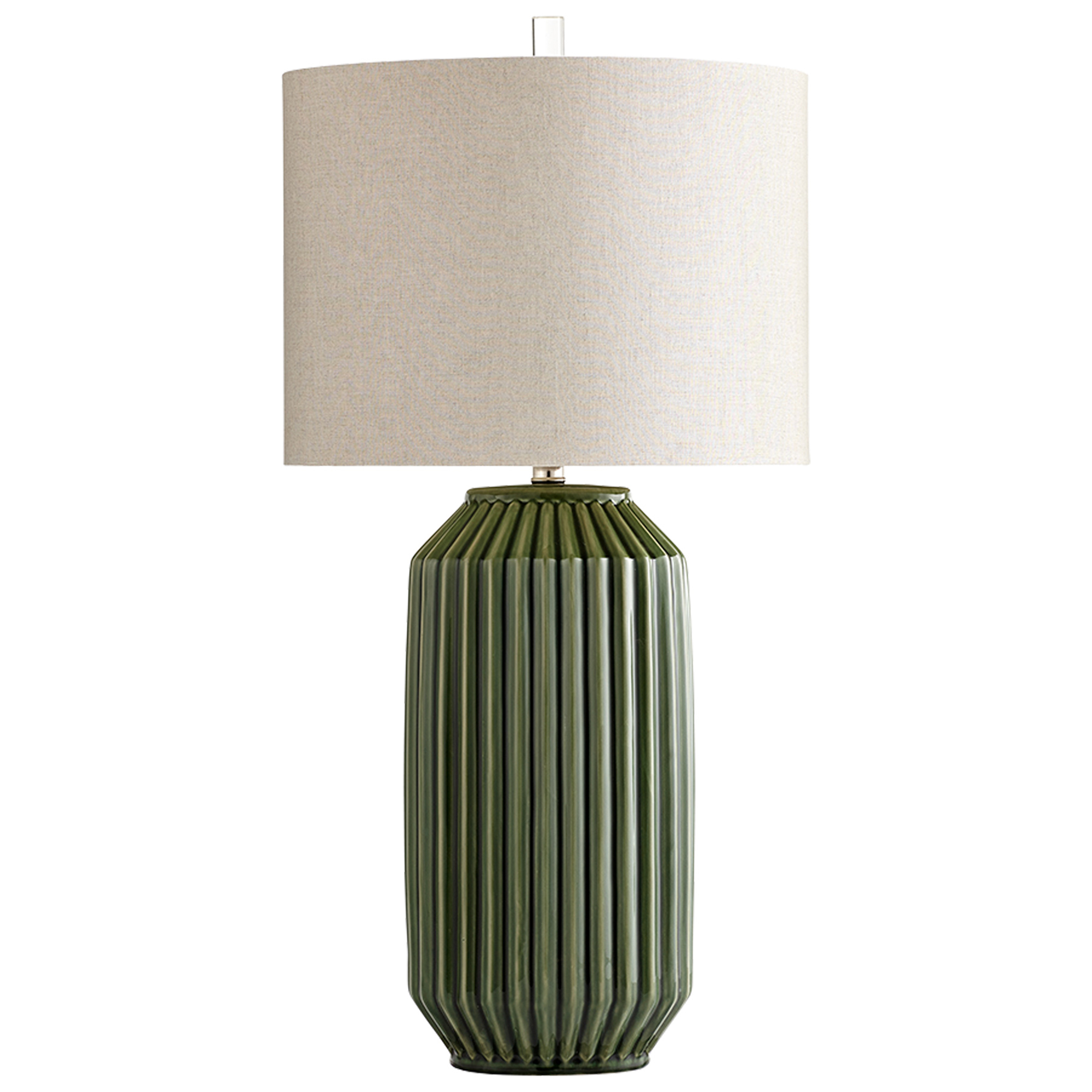 Details About Ribbed Green Ceramic Table Lamp Mid Century Modern With Shade