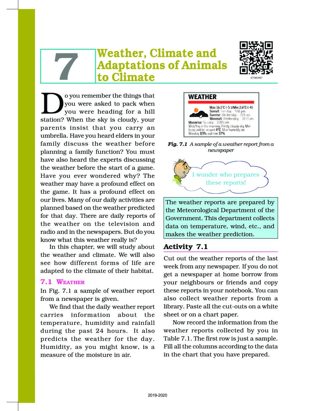 Ncert Book Class 7 Science Chapter 7 Weather Climate And