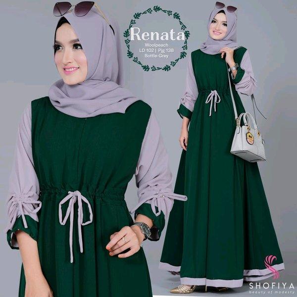 Gamis Polos Modern Baju Muslim Wanita Kekinian Longdress RENATA