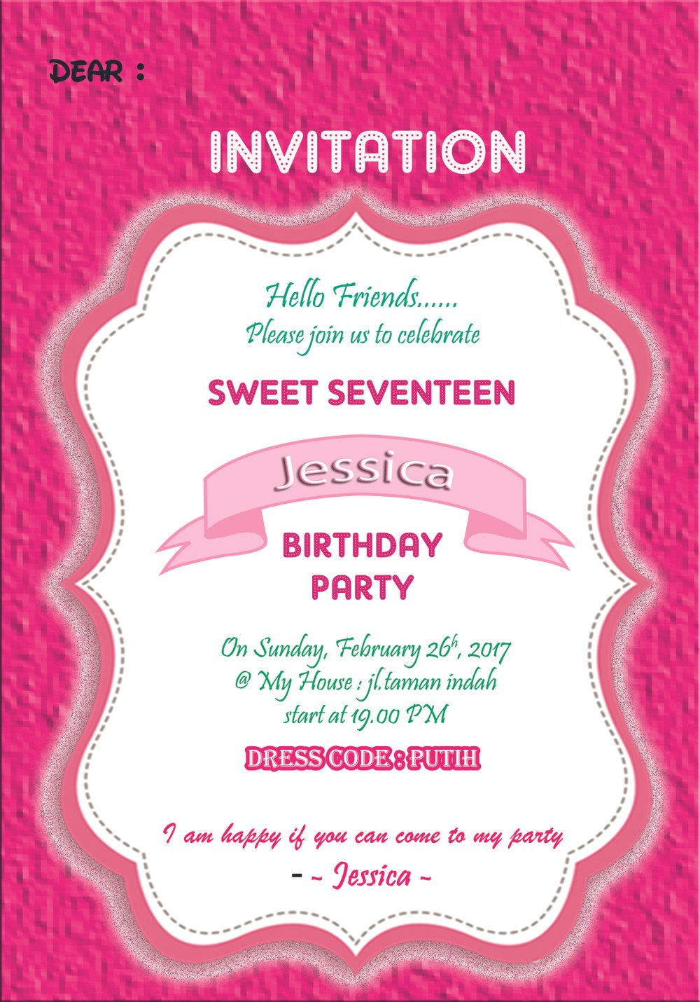 Jual Kartu Undangan Ulang Tahun Invitation Card Sweet Seventeen
