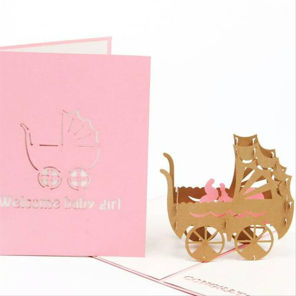 Jual Kartu Ucapan 3d Kelahiran Bayi Welcome Baby Girl Pop Up Cards
