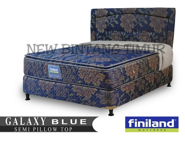 Spring Bed Finiland Galaxy Semi Pillow Top Blue 180 x 200 Full Set - Jabodetabek