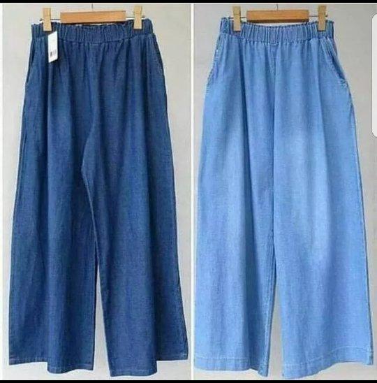 Celana Kulot Jeans Wash . Celana Jeans Panjang
