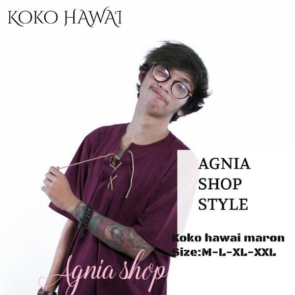 baju muslim pria baju koko hawai kaos pria maron trend anak muda