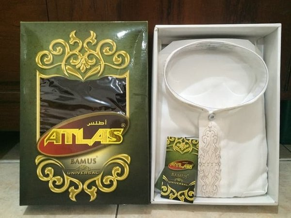 Promo Baju Muslim Koko Pria - BAJU PRIA Baju Koko Atlas Bamus Universal Warna Putih Ukuran L