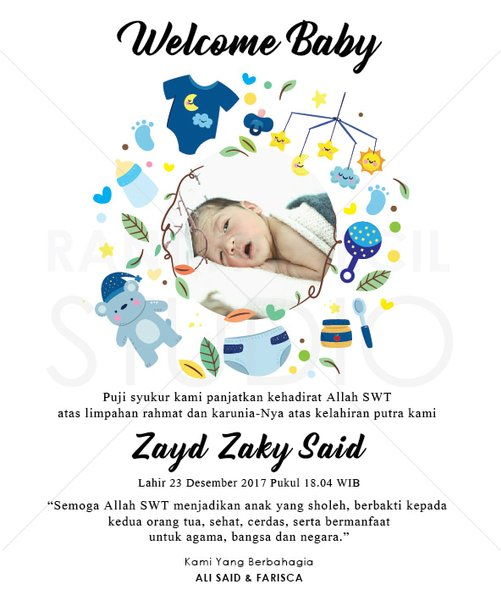 Desain Kartu Ucapan Kelahiran Bayi Psd Ala Model Kini