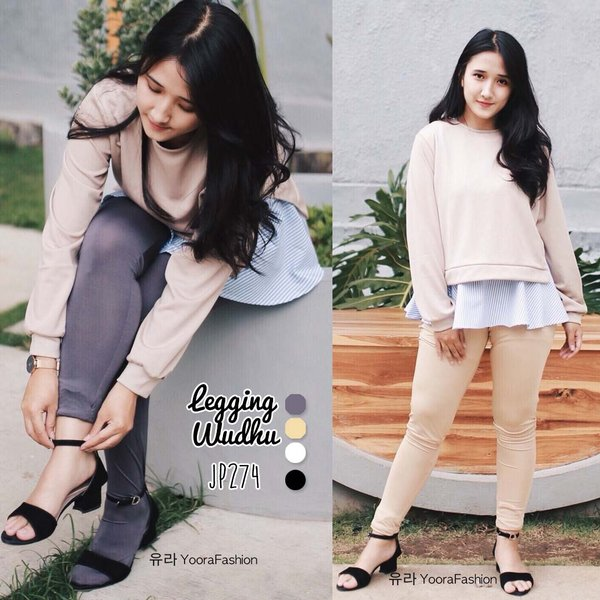 Legging Wudhu Premium Yoorafashion Multifungsi Stocking Bisa Digulung JP274