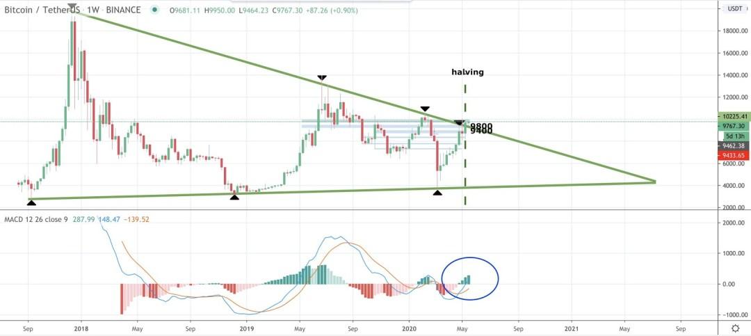 Bitcoin weekly price chart with MACD
