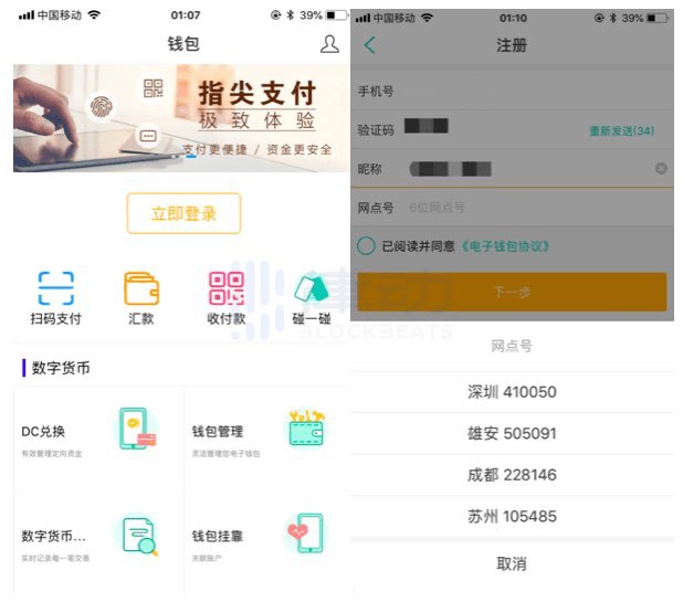 Screenshot ostensibly showing a new testing wallet app for the digital yuan