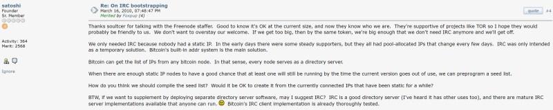 Satoshi-Post auf Bitcointalk zu IRC. Quelle: Bitcointalk.