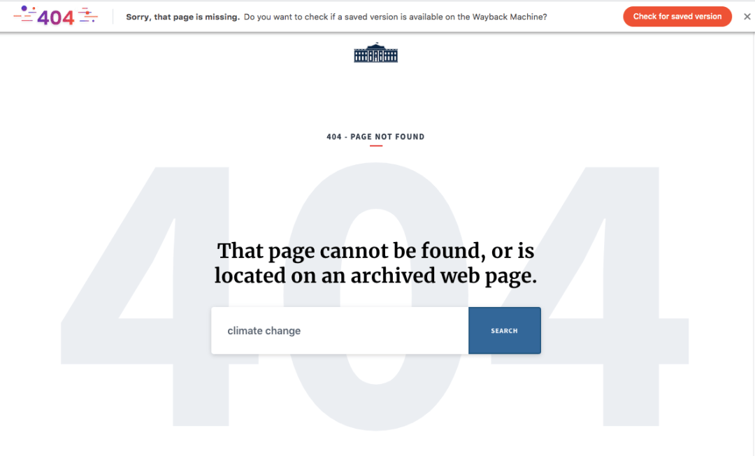 "Wayback Machine 404 support on Brave browser. ""Missing"" page link"