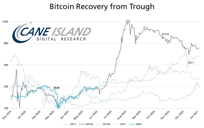 Bitcoin chart that compares the 2013 recovery with that of 2020
