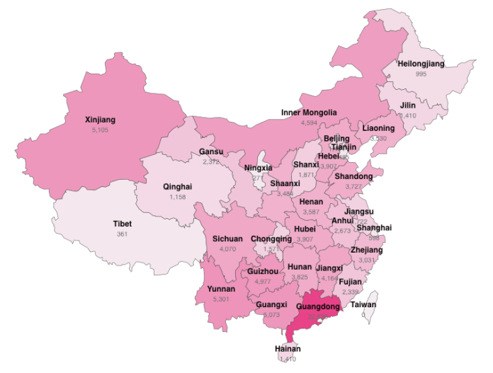 Distribution of registered blockchain firms in China