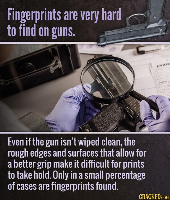 Fingerprints are very hard to find on guns. Even if the gun isn't wiped clean, the rough edges and surfaces that allow for a better grip make it difficult for prints to take hold. Only in a small percentage of cases are fingerprints found.