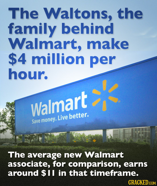 The Waltons, the family behind Walmart, make $4 million per hour. Walmart Live better. Save money. The average new Walmart associate, for comparison,
