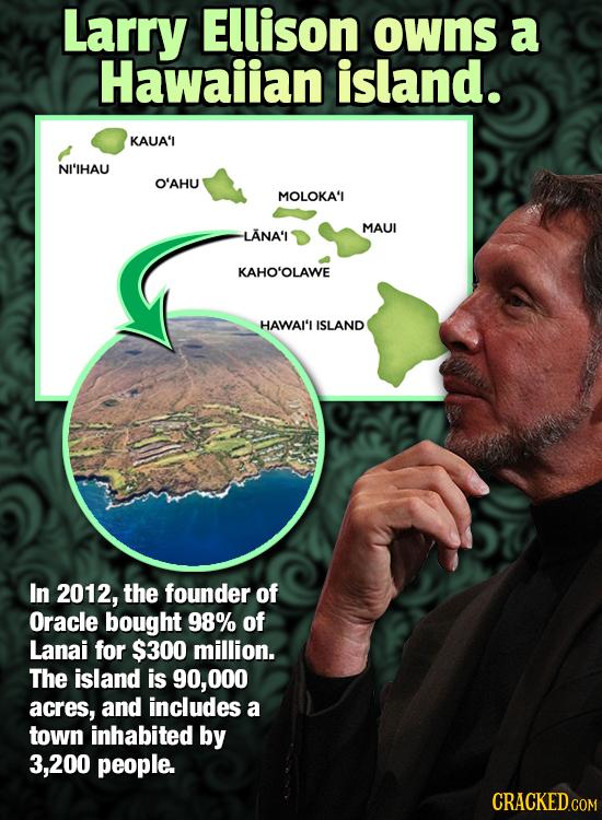 Larry Ellison owns a Hawaiian island. KAUA'I NI'IHAU O'AHU MOLOKA'L MAUI LANA'I KAHO'OLAWE HAWAI'I ISLAND In 2012, the founder of Oracle bought 98% of