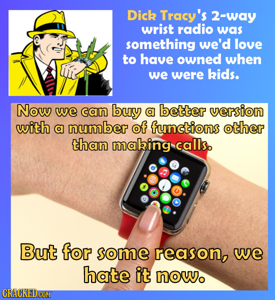 Dick Tracy's 2-way wrist radio was something we'd love to have owned when we were kids. Now we can buy a better version with a number of functions oth
