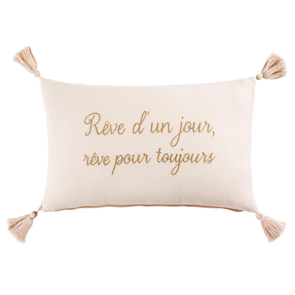 Coussin A Pompons En Coton Rose 30x50coussin Enfant Rose 50x30x0cm Maisons Du Monde