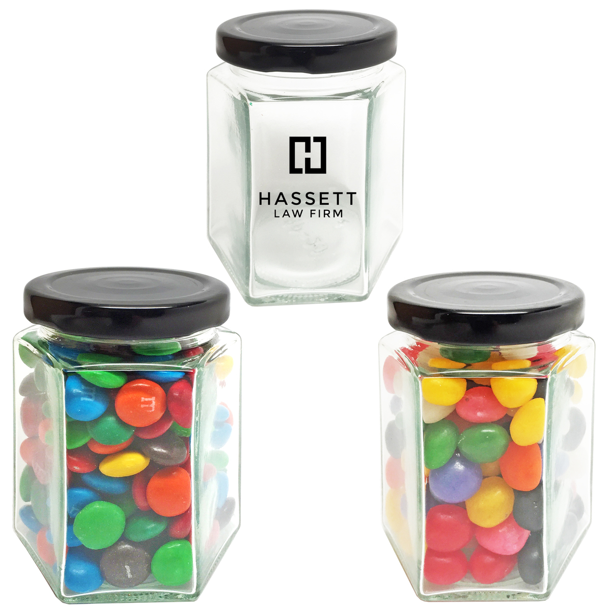 Hexagon Small Glass Jar Jelly Beans Or Red Hots