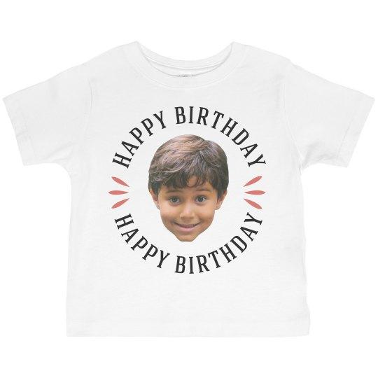 Custom Toddler Face Photo Birthday Tee Toddler Basic Promo Jersey T Shirt