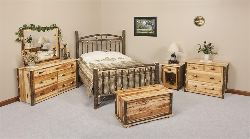 rustic cabin hickory wood wagon wheel bedroom furniture set
