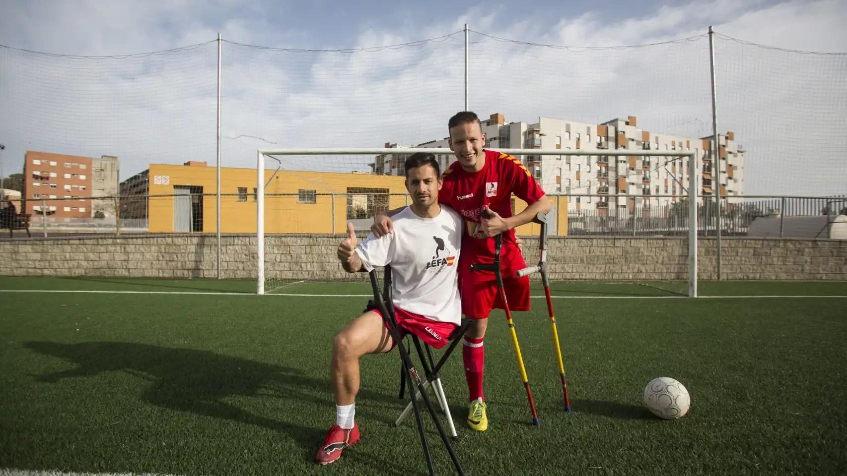 Ihab Ettalib y Francisco Vaquero, de la selección española de amputados. Foto Fernando Ruso
