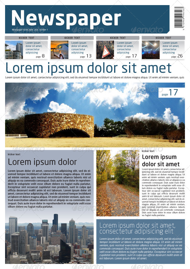 Newspaper Template A4 and A3 Format 10 Pages by Grga atree     Preview Image Set 01 front jpg