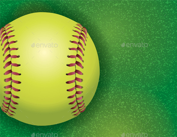 Softball On A Textured Grass Field By Enterlinedesign