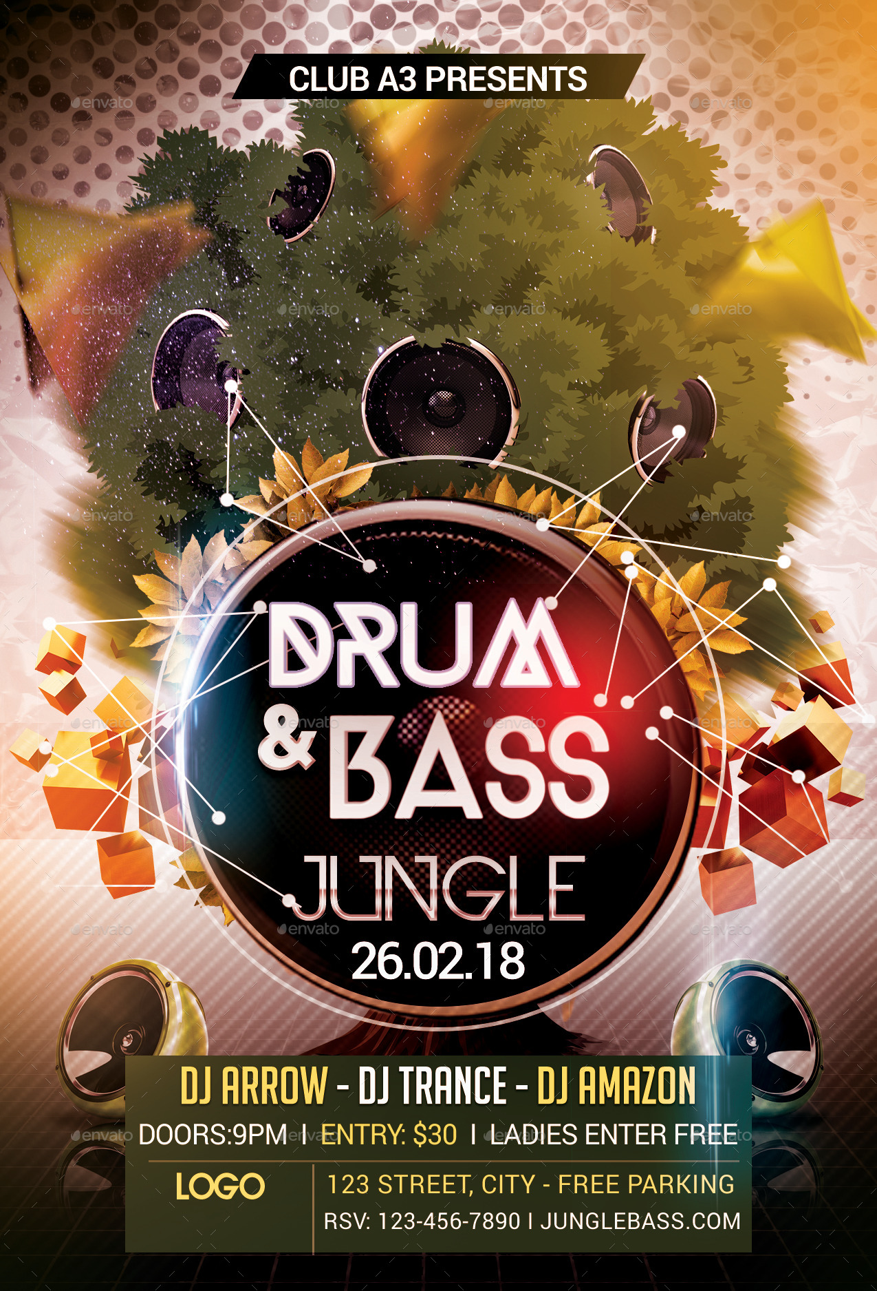 Drum And Bass Jungle Flyer Template By Arrow3000 GraphicRiver