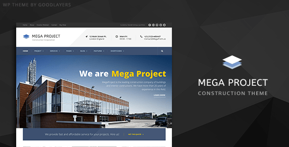 Construction WordPress Theme For Construction Company | Mega Project