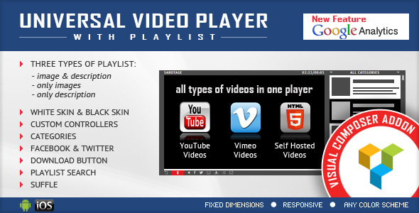 visual composer-addon-universal video player