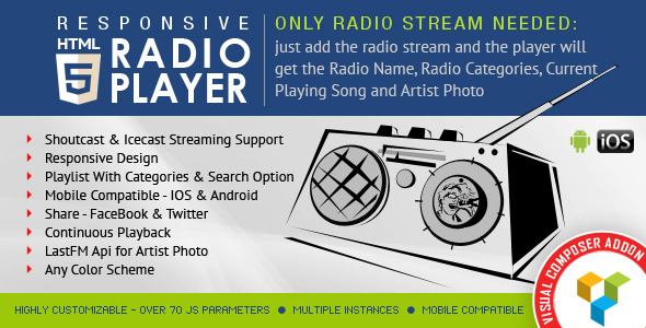 visual composer-addon-html5 radio player