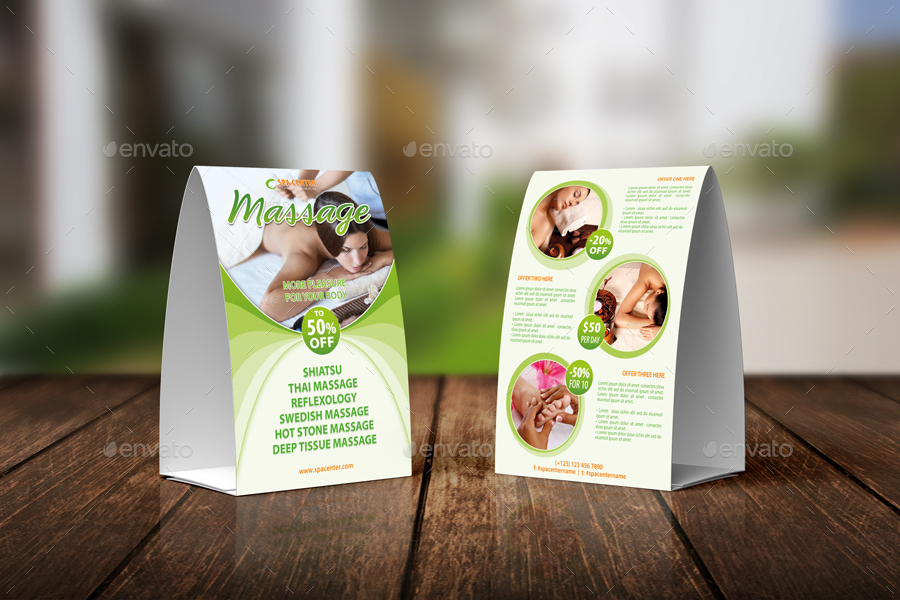 Massage And Spa Center Table Tent Template 34 By 21min GraphicRiver