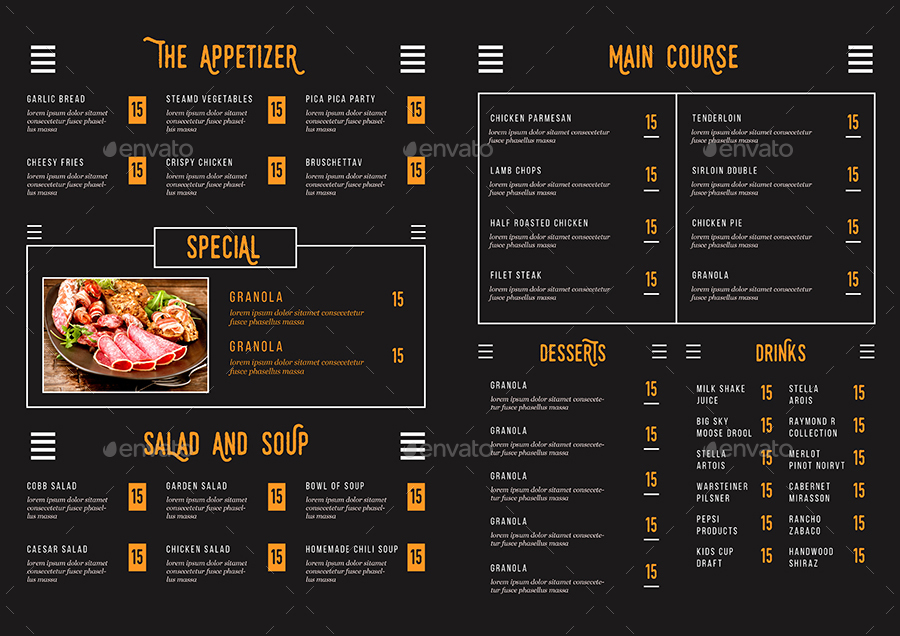 Rustic Bifold Restaurant Menu By Guuver GraphicRiver