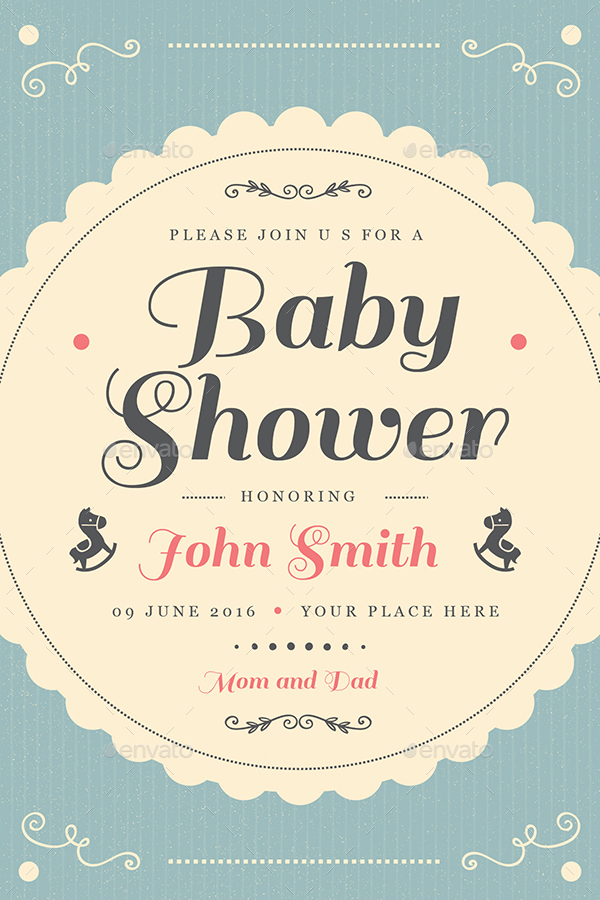 Vintage Baby Shower Invitation Card By