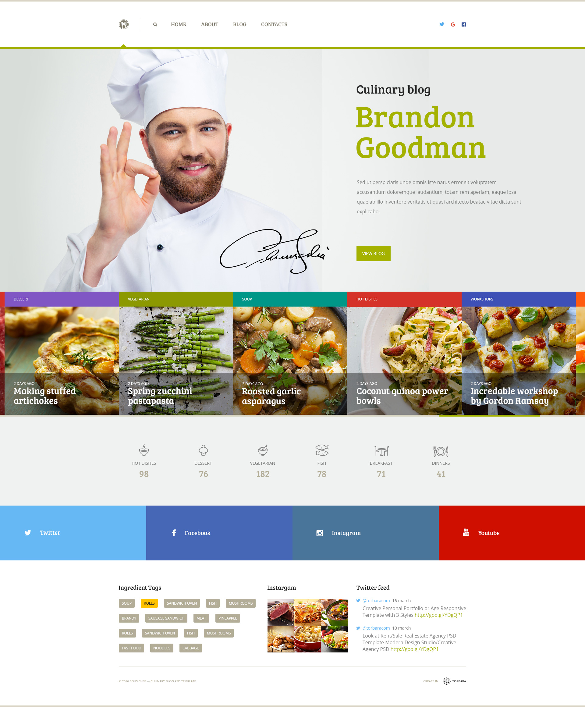 Sous Chef Unique Clean Psd Template For Culinary Blog