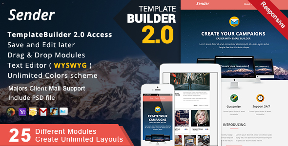 Sender - Responsive Email + MailBuild Online - Newsletters Email Templates