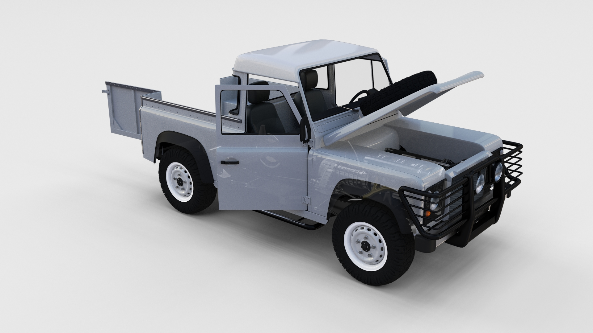 Full Land Rover Defender 90 Pick Up Seethrough by dragosburian